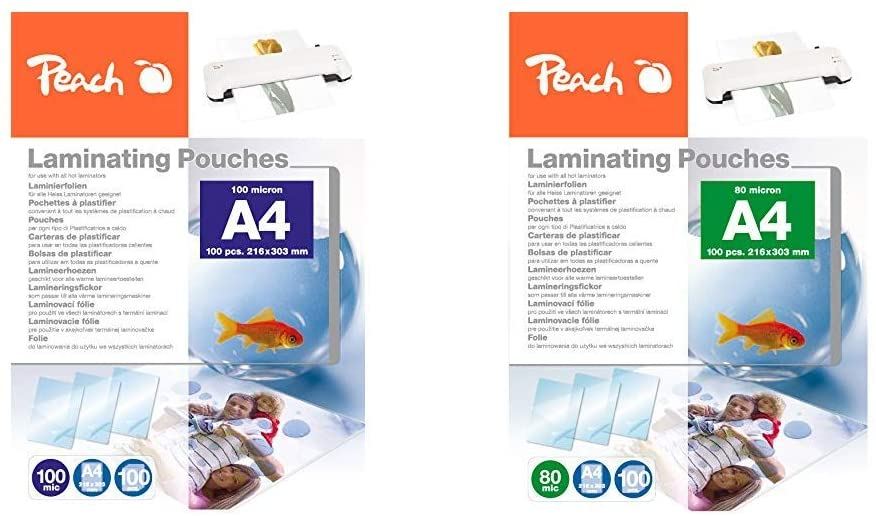 Peach PP500-02 Laminierfolien A4, 100 mic, 100 Stück & PP580-02 Laminierfolien, DIN A4, 80 mikron, 1