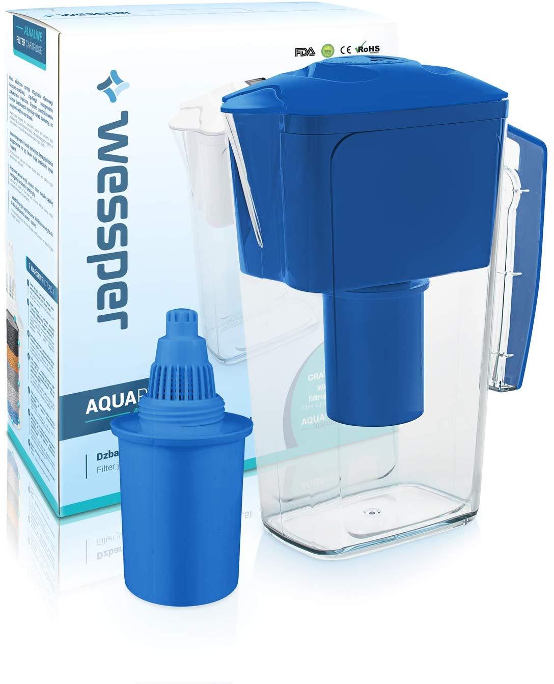 Wessper Wasserfilter Krug 2.5L AQUApro mit 1 alkalische Filterkartusche, BPA-frei, Elektro.Timer, BL