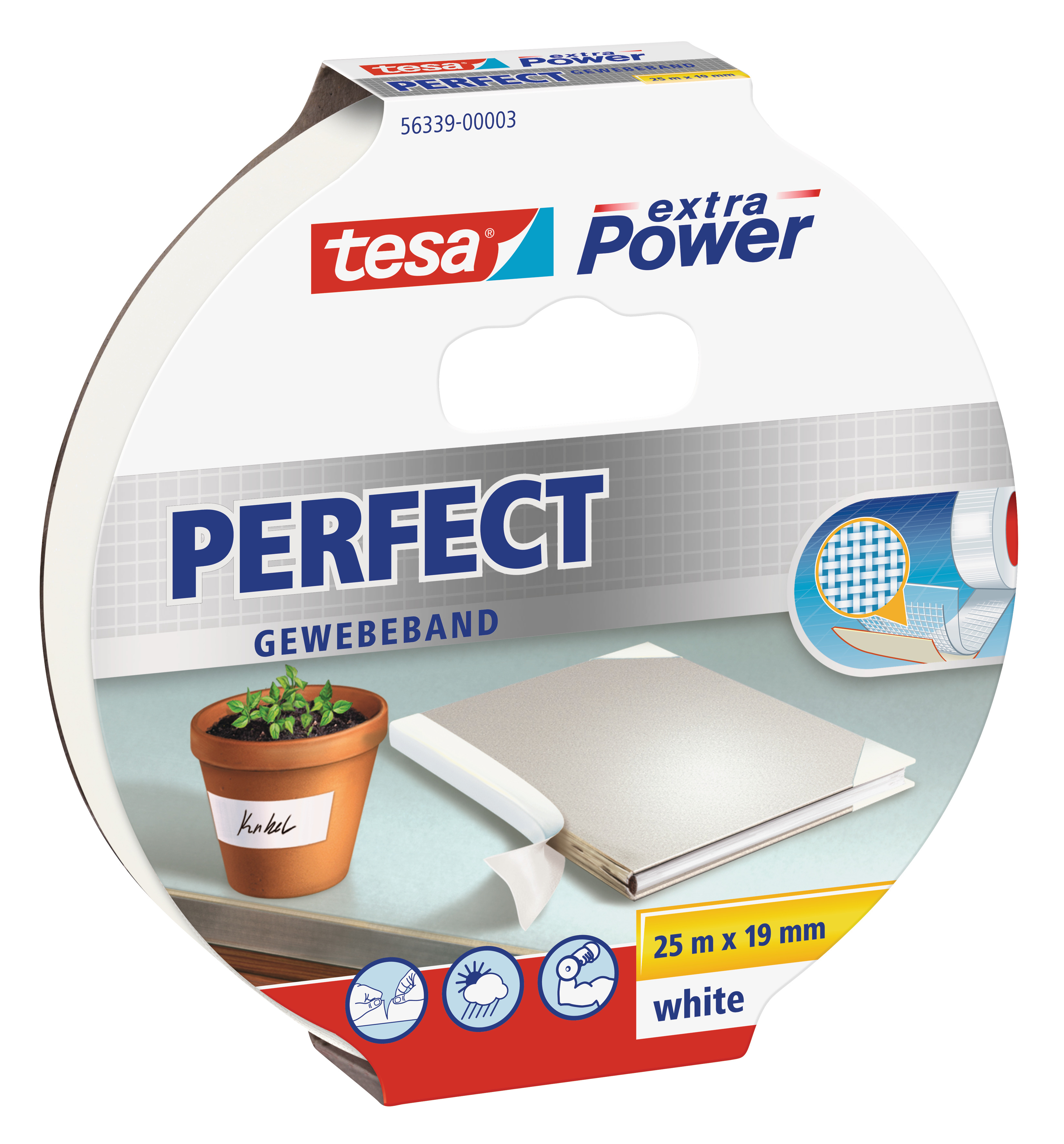 GP: 0,49 EUR/m tesa extra Power Perfect Gewebeband weiß 25m x 19mm