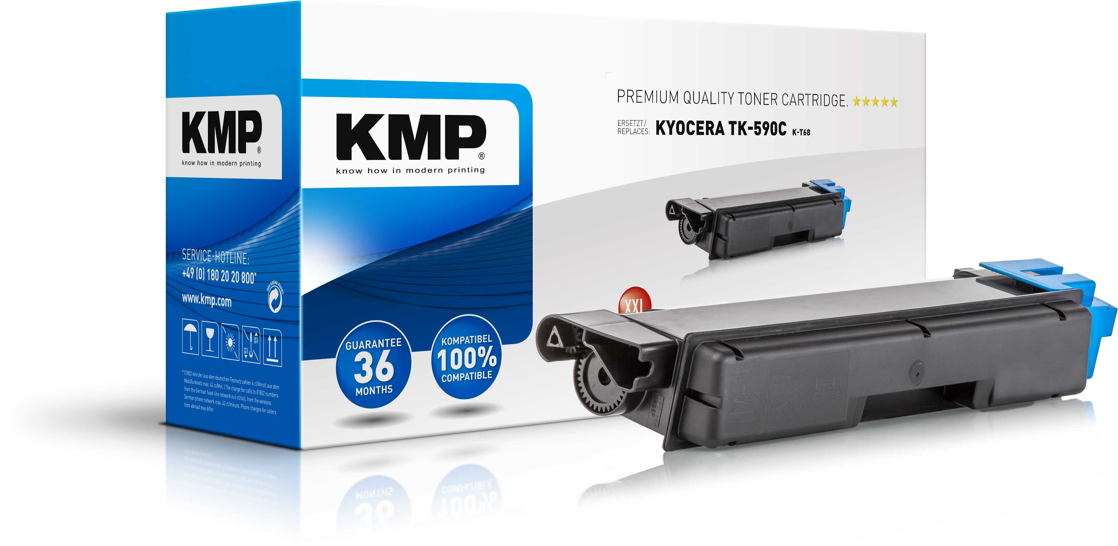 KMP Toner K-T68 für Kyocera TK-590C XXL FS-C2026MFP etc. cyan