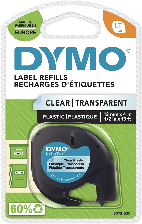DYMO LT Etikettenband Authentisch | schwarz auf transparent | 12 mm x 4 m | selbstklebendes Kunststo