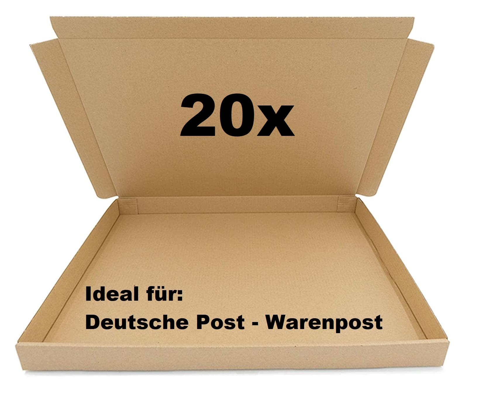 20x SAD Warenpostkartons 350x250x30mm Karton für Warenpost International XS geeignet - DIN A4 Format
