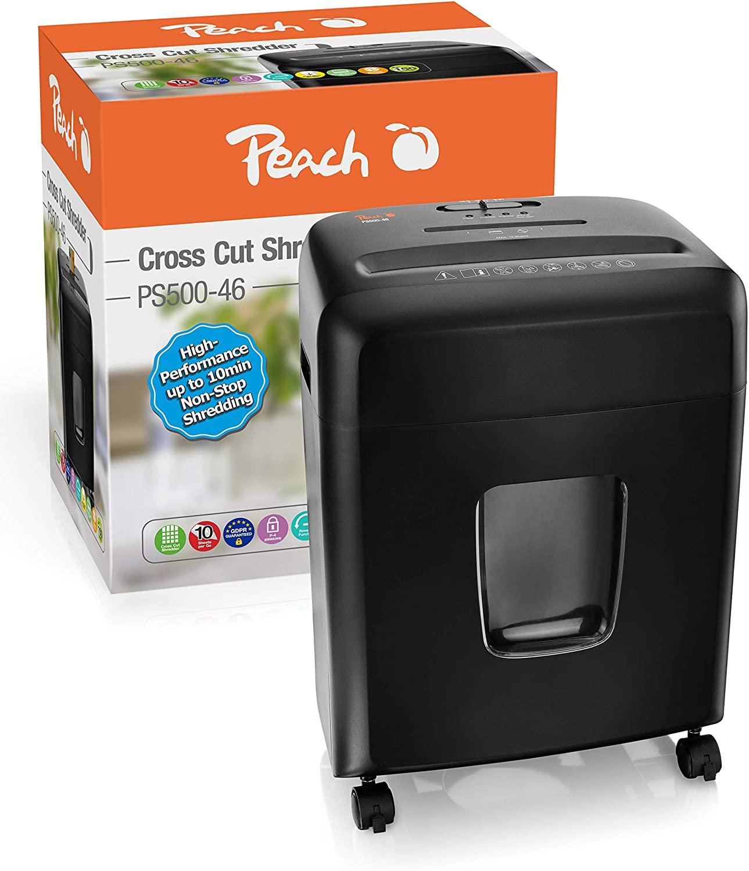 Peach PS500-46 Partikelschnitt/Cross Cut Aktenvernichter | 12 Blatt | 15 Liter/150 DIN A4 | 4 x 32 m