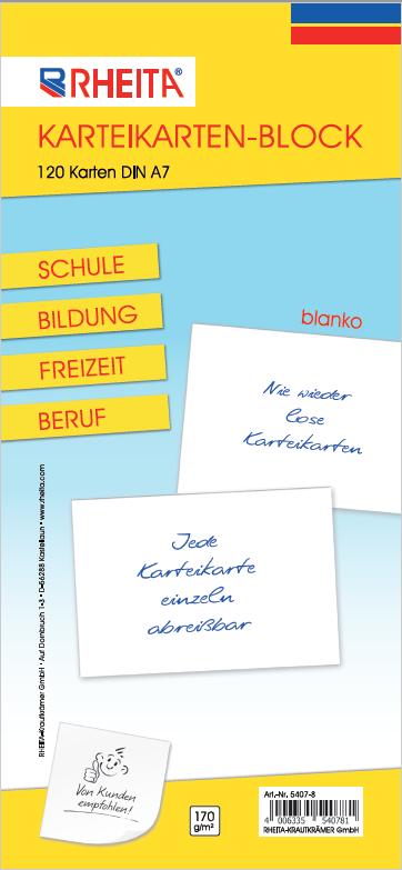 Karteikarten-Block blanko DIN A7 mit120 Karten 170g/m² ideal für Schule Bildung Freizeit u. Beruf