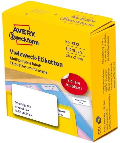 AVERY Zweckform 3832 selbstklebende Etiketten auf Rolle (38 x 21 mm, 350 Aufkleber auf Rolle im Spen