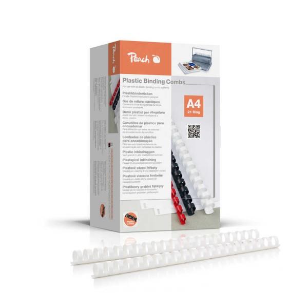 Peach PB420-01 Binderücken 20 mm, A4, 100 Stück, weiß
