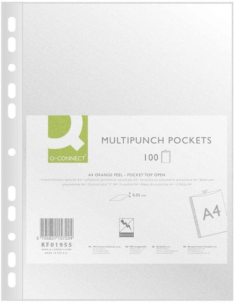 Q-Connect 19390 Tasche Polypropylen Eco perforiert genarbt antistatisch A4 6/100e 100 Stück 210 x 29