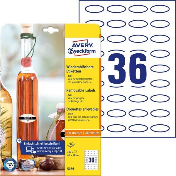AVERY Zweckform 360 Flaschenetiketten selbstklebend (40x20 mm, Oval, Aufkleber Ideal für Einmachgläs