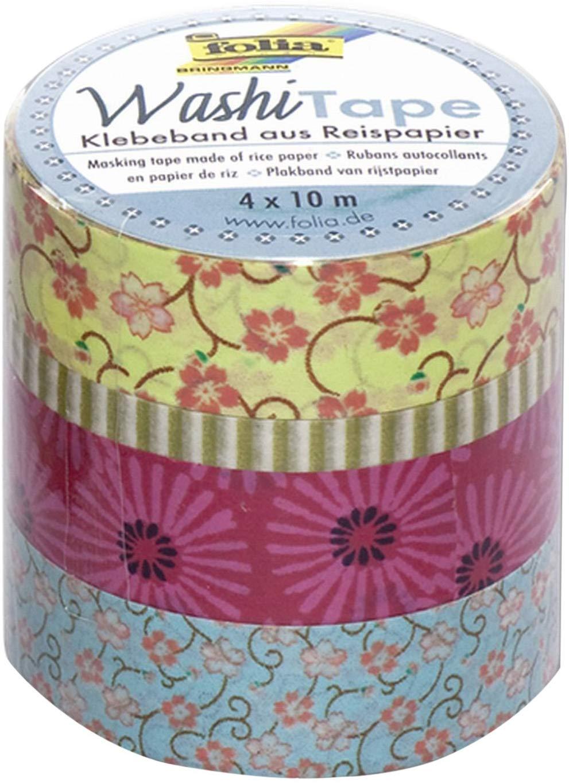 folia 26405 - Washi Tape, Klebeband aus Reispapier, 4er Set Blumenregen - ideal zum Verzieren und De