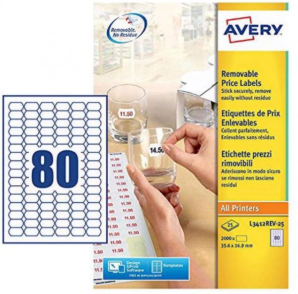 AVERY Zweckform L3412REV-25 Preis-Etiketten (A4, 2.000 Stück, ablösbar, 35,6 x 16,9 mm, 25 Blatt) we