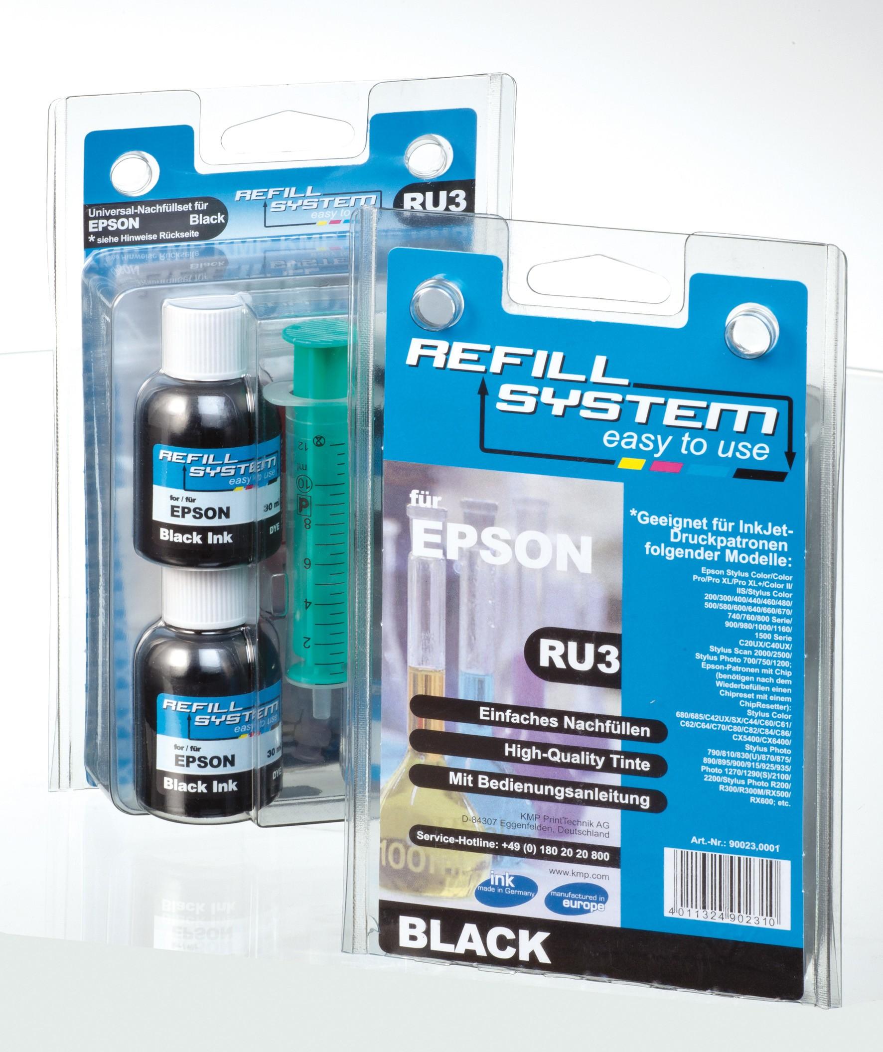 KMP Refill-System RU3 für Epson black