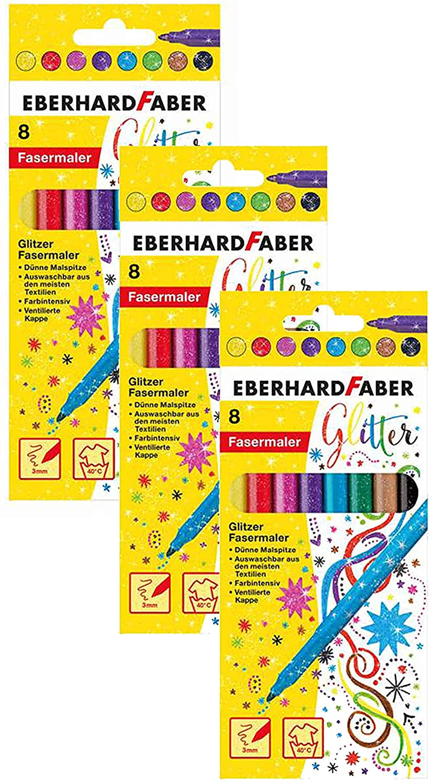 Eberhard Faber 551008 - Glitzer Fasermaler im Kartonetui (3 Packungen, Glitzer 8er Etui)
