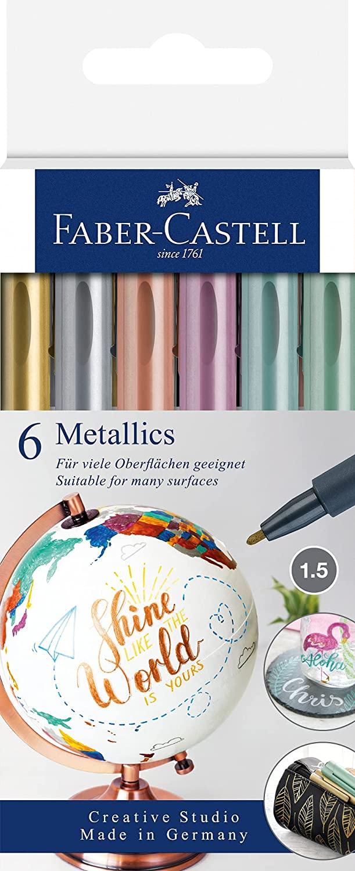 Faber-Castell 160706 - Metallics Marker mit Faserspitze, 1,5 mm Strichstärke, für viele Oberflächen
