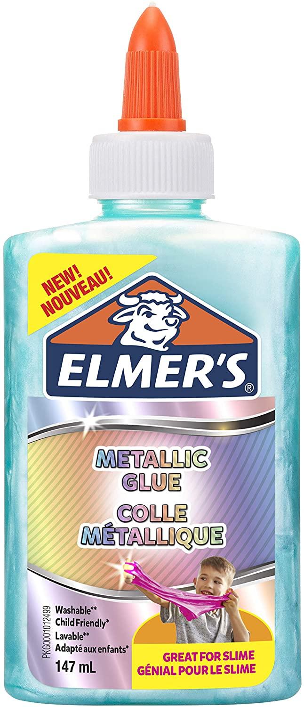 Elmer's Metallic-PVA-Kleber | ideal zur Herstellung von Schleim | auswaschbar | türkis | 147 ml | 1