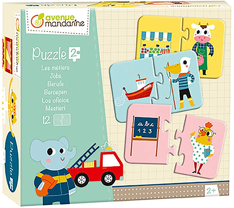 Avenue Mandarine JE512C Set mit 12 Puzzles 2-teilig, praktisch, spielerisch und farbenfroh, ideal fü