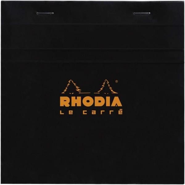Rhodia 148209C Notizblock Le Carré (kariert, quadratisch 148 x 148 mm, 80 Blatt) 1 Stück schwarz