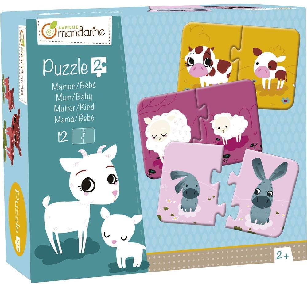 Avenue Mandarine JE502O Set mit 12 Puzzles 2-teilig, praktisch, spielerisch und farbenfroh, ideal fü