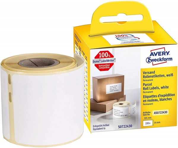 AVERY Zweckform AS0722430 Versandetiketten selbstklebend, 220 Aufkleber (54 x 101 mm, Kompatibel mit
