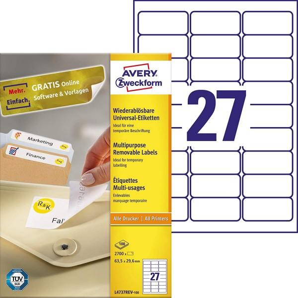 AVERY Zweckform L4737REV-100 Universal Etiketten (2.700 Klebeetiketten, 63,5x29,6mm auf A4, wieder r