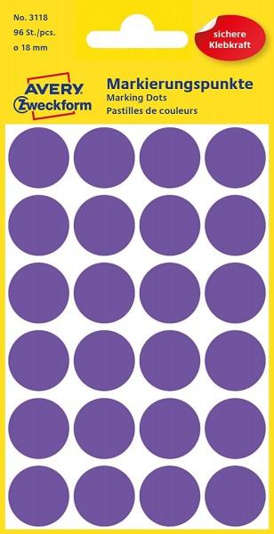 AVERY Zweckform 3118 Selbstklebende Markierungspunkte, Violett (Ø 18 mm; 96 Klebepunkte auf 4 Bogen;