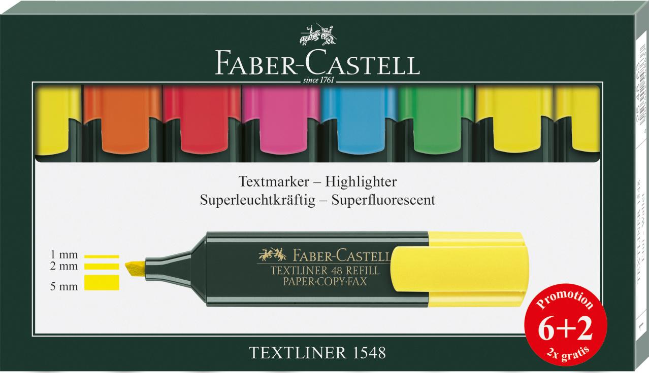 Faber-Castell Texmarker 8er Etui TEXTLINER 1548 6+2 Aktion