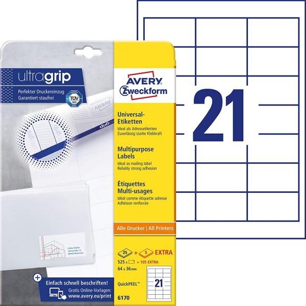 AVERY Zweckform 6170 Adressaufkleber (525 plus 105 Klebeetiketten extra, 64x36mm auf A4, Papier matt