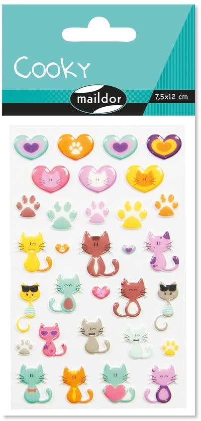 Maildor 560500C Packung mit Stickers Cooky 3D (1 Bogen, 7,5 x 12 cm, ideal zum Dekorieren, Sammeln o