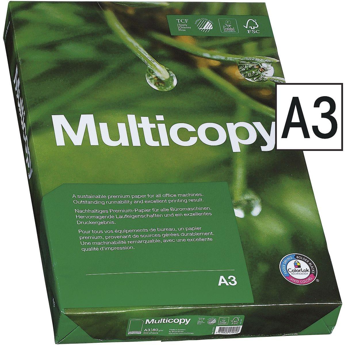 Multicopy Papier 80g/m² DIN-A3 - 2500 Blatt Exzellentes Druckergebnis mit Umweltbewusstsein