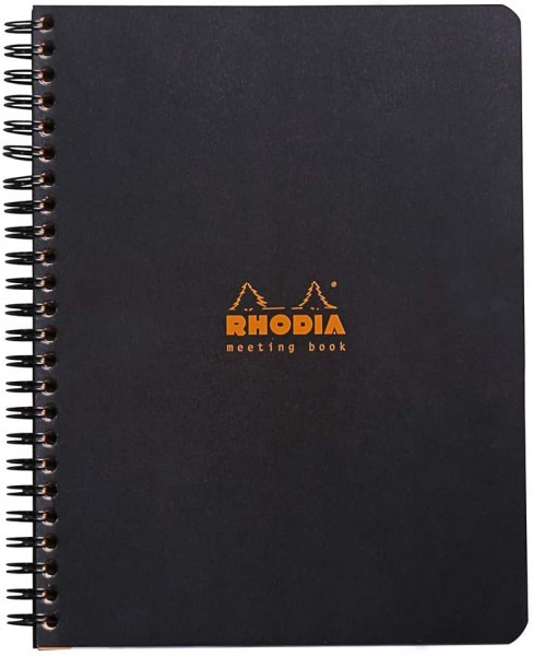 Rhodia 193419C Meeting Book (mit Spiralbindung, 14,8 x 21 cm, 80 Blatt) 1 Stück schwarz