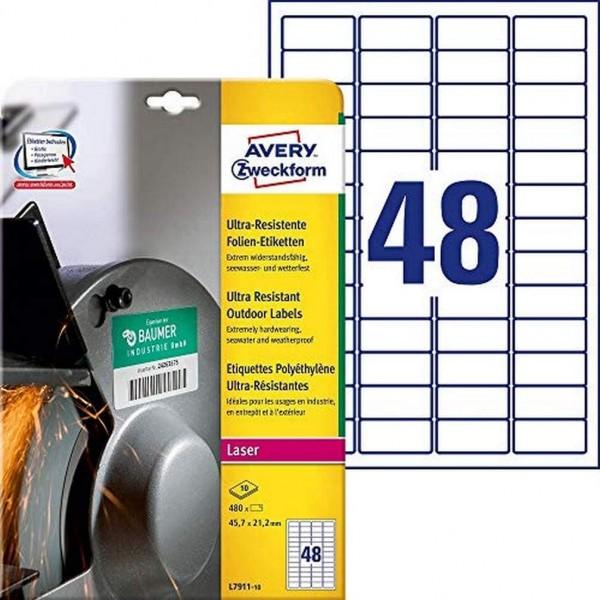 AVERY Zweckform L7911-10 Strapazierfähige Folienetiketten (45,7x21,2 mm auf DIN A4, extrem stark sel