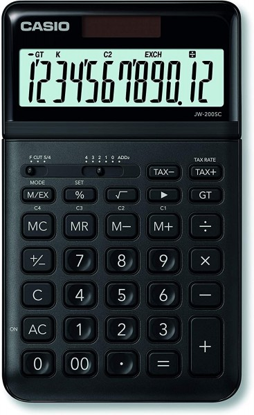 Casio JW-200SC-BK eleganter Tischrechner, 12-stellig, in sieben Farbvarianten, SCHWARZ