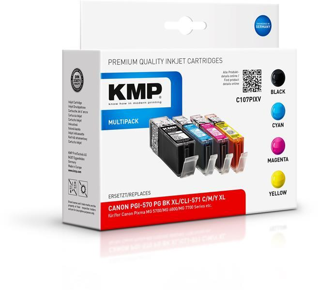 KMP Multipack C107XV komp. CLI571XL BK/C/M/Y für Canon Pixma MG 5700