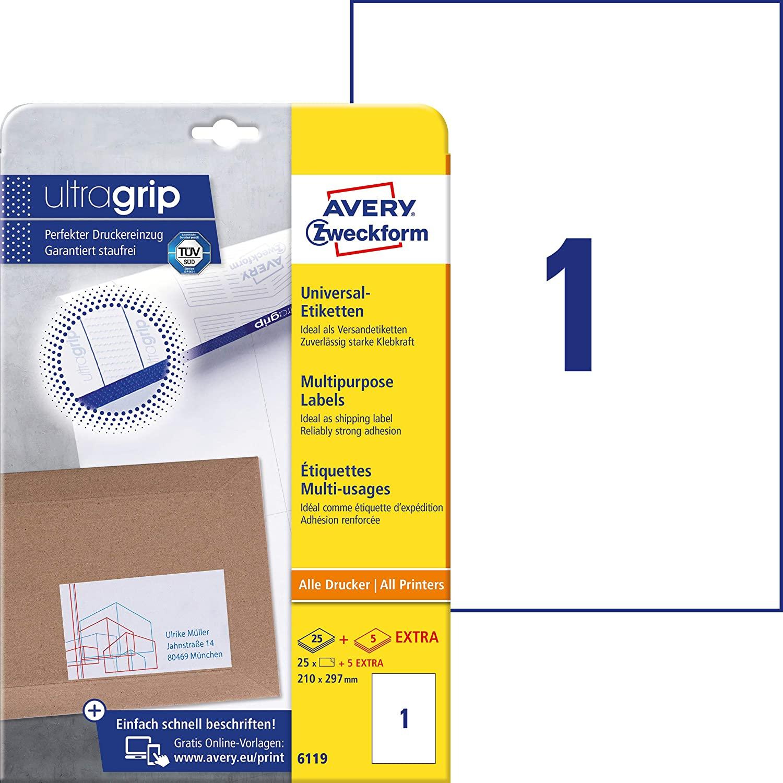 AVERY Zweckform 6119 Universal Etiketten (25 plus 5 Klebeetiketten extra, 210x297mm auf A4, Papier m