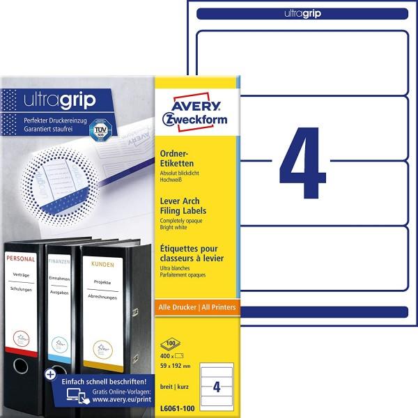 AVERY Zweckform L6061-100 Ordnerrücken Etiketten (mit ultragrip, 59 x 192 mm auf DIN A4, breit/kurz,