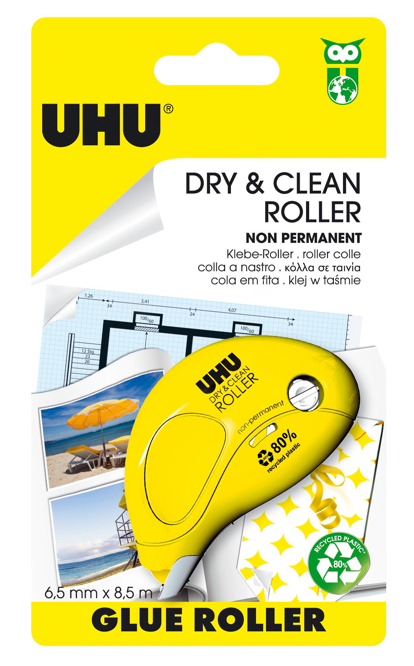 UHU Dry & Clean Roller Kleberoller, non-permanent, Infokarte