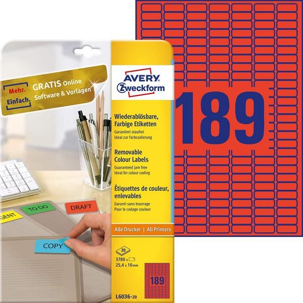 AVERY Zweckform L6036-20 Rote Etiketten (3.780 Aufkleber, 25,4x10mm auf A4, wieder rückstandsfrei ab