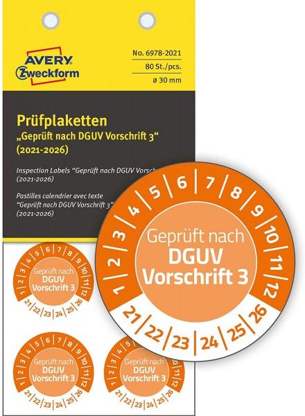 AVERY Zweckform 80 Stück Prüfplaketten 2021-2026 nach DGUV Vorschrift (fälschungssicher, selbstklebe