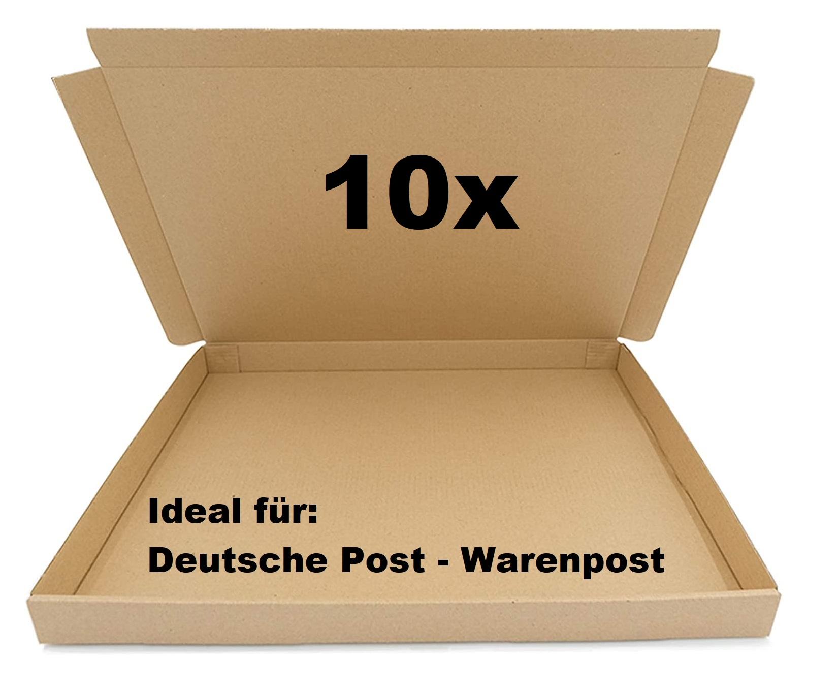 10x SAD Warenpostkartons 350x250x30mm Postkarton für Warenpost International XS geeignet - DIN A4 Fo
