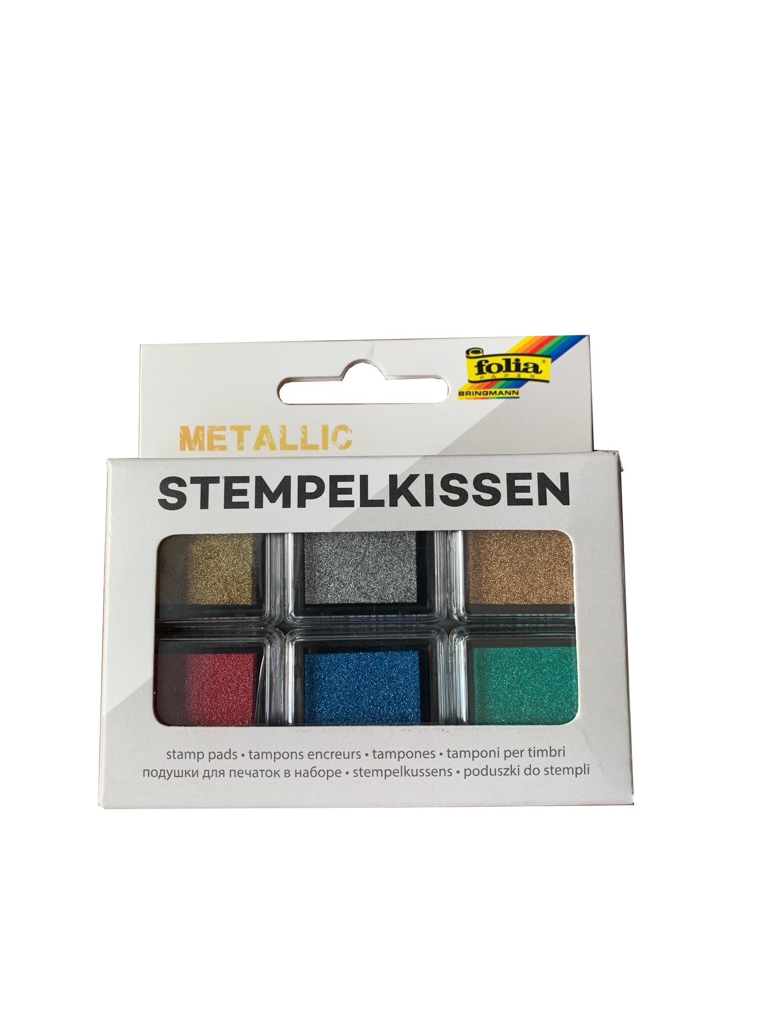 folia 30183 Stempelkissen Set METALLIC, 6 Stück farbig sortiert