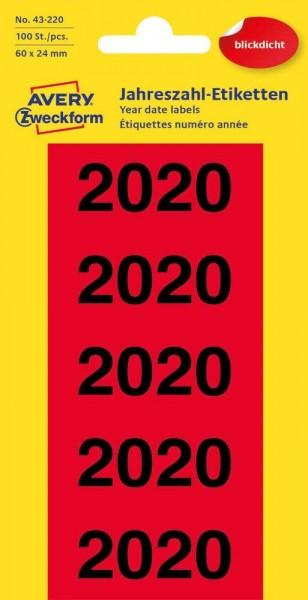 AVERY Zweckform 43-220 Jahreszahlen (Etiketten 60x24mm, Aufdruck 2020, 100 Aufkleber auf 20 Bögen, b