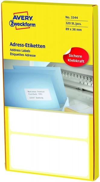 AVERY Zweckform 3344 Adress-Etiketten (Papier matt, 320 Etiketten, 89 x 36 mm) 1 Pack weiß