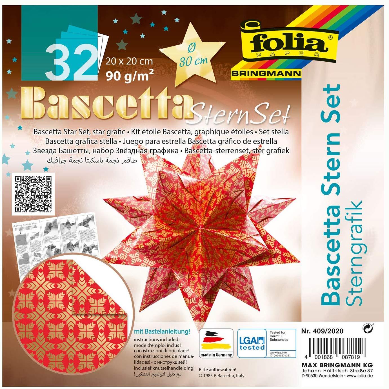 folia 409/2020 - Bastelset Bascetta Stern Sterngrafik rot/gold, 32 Blatt, 20 x 20 cm, fertige Größe
