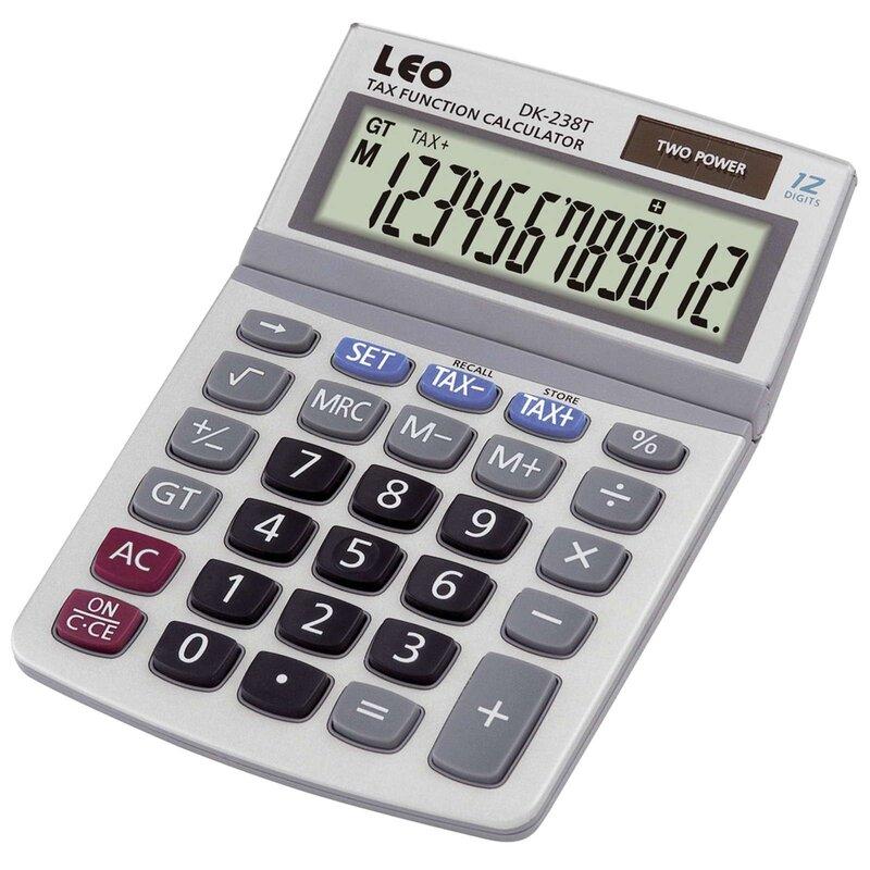 LEO DK238T Tischrechner 12-stellig, LCD Display Solar und Batterie silber