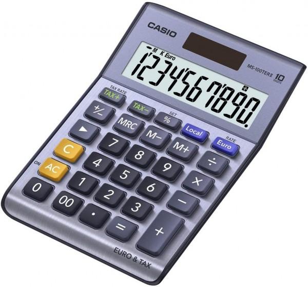 CASIO MS-100TER II Tischrechner kompakt mit Metallfront blau, 10-stelliges Display, Steuer-Berechnun
