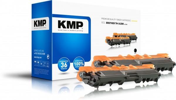 KMP Doublepack B-T57D kompatibel mit Brother TN-242BK DCP-9022CDW etc. black