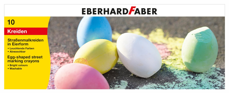 Eberhard Faber 526511 Straßenmalkreide in Eierform, 10er, Mehrfarbig
