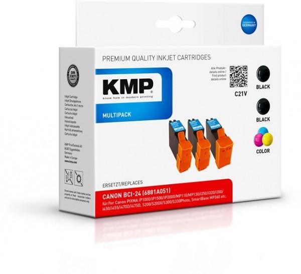 KMP Vorteilspack C21V kompatibel mit BCI-24 BK + C für Canon S300 iP10