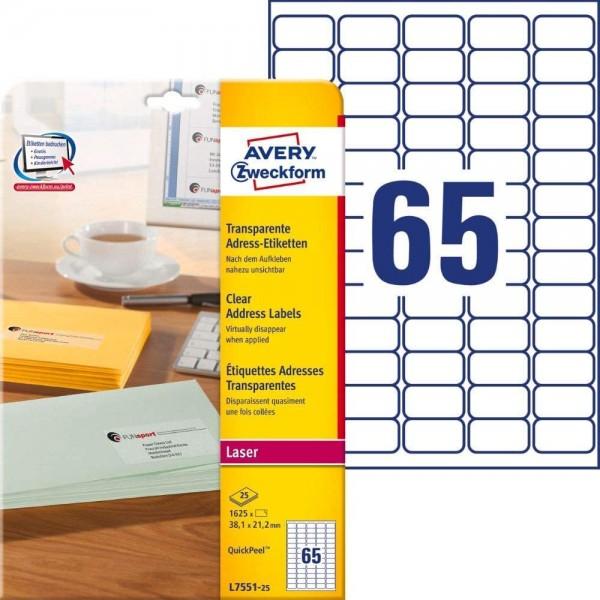 AVERY Zweckform L7551-25 Adressetiketten/Adressaufkleber (1.625 Etiketten, 38,1x21,2mm auf A4, bedru