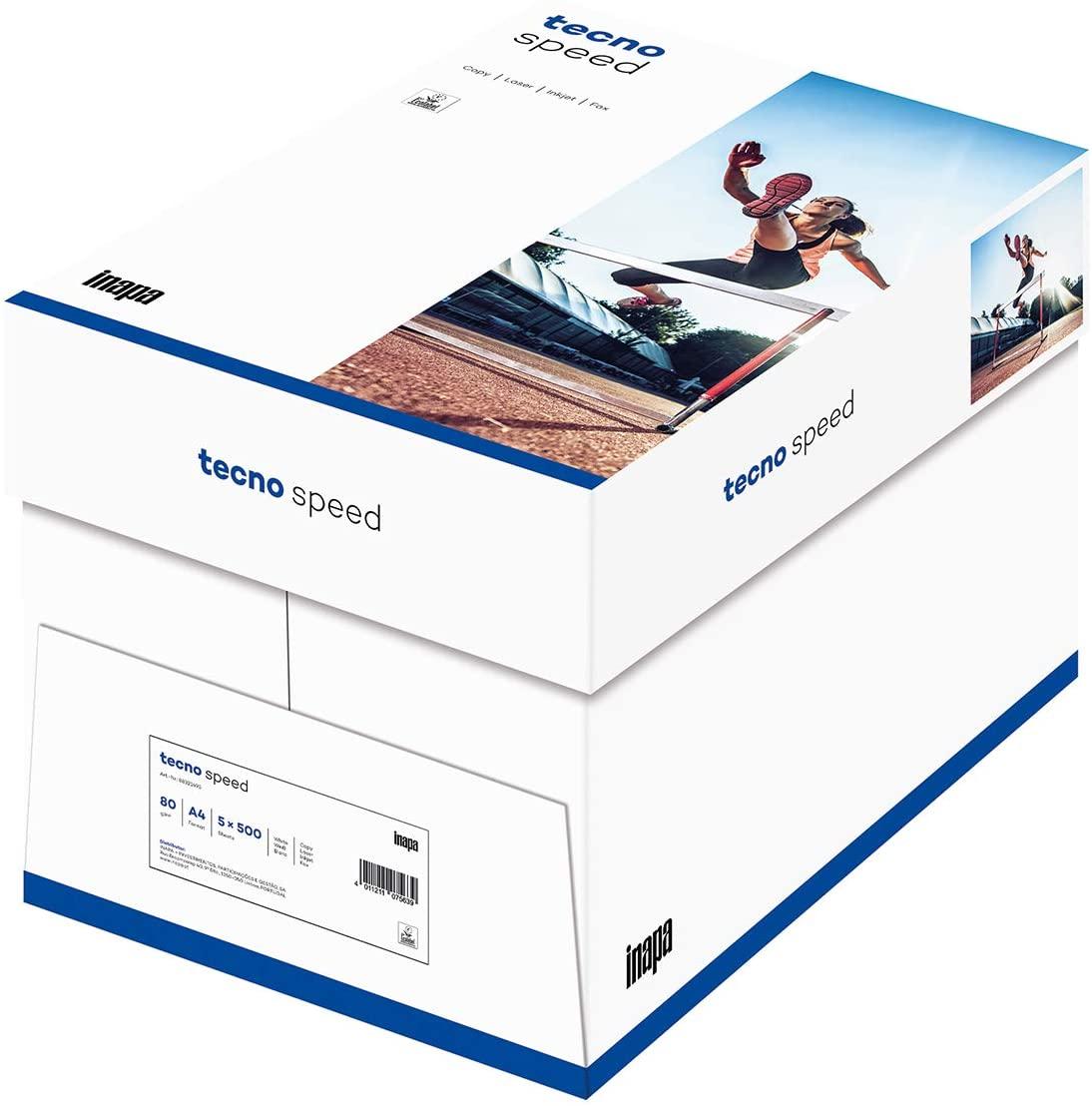inapa Drucker-/Kopierpapier tecno Speed: 80 g/qm², A4, weiß, 2500 Blatt - schnell und staufrei druck