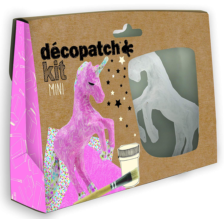 Vorschau: Décopatch Bastel Set Pappmaché Mini Einhorn (ideal für Kinder, 19 x 13,5 x 3,5 cm) rosa, bunt